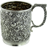 Antique Welsh & Bros Baltimore, MD Sterling Silver Floral Repousse Handled Cup with 1901 Engraving