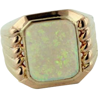 Men's 14K Yellow Gold & Large Fiery Green Opal Ring - Size 10