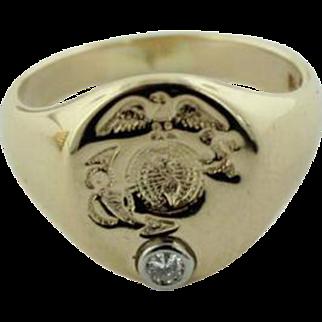 Men's 14K Yellow Gold Marine Corp Emblem Signet Ring w/.1c Diamond-Size 10.5