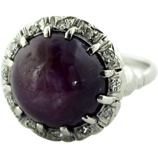 Beautiful 14K White Gold Ring with 14.77c Star Ruby & .12tcw Diamonds with $9,280 Appraisal in Size 5.75
