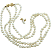 """Mikimoto & Blue Lagoon Double Strand 17"""" Pearl Necklace & Matching Pierced Stud Earrings in 14K Yellow Gold"""