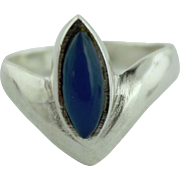 Contemporary Women's Sterling Silver & Blue Chalcedony Marquise Ring-Size 5