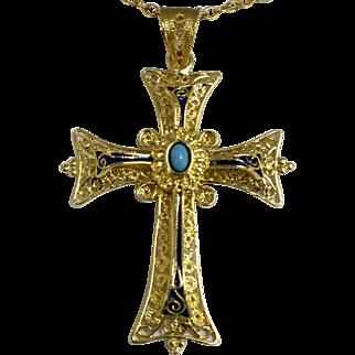 "Ornate 18K Yellow Gold-Turquoise-Blue Enamel 1 1/2"" Religious Cross Pendant"