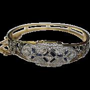 Vintage Diamond & Blue Sapphire 14K Yellow/White Gold Filigree & Open Floral Design Bracelet