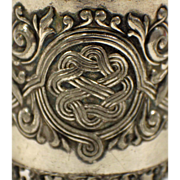 Antique 925 Silver Napkin Ring - Celtic Knot Design - Engraved from 1902