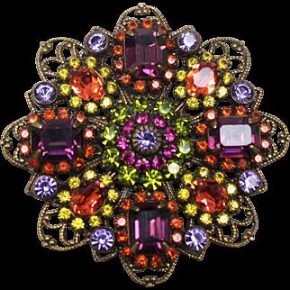 "Stunning & Bright Multi Colored 2 1/4"" Crystal Pin by Liz Paiacios - Filigree Setting"
