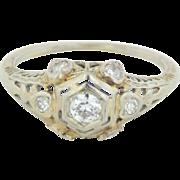 18kt White Gold Vintage Diamond Engagement Ring - Size 5 3/4