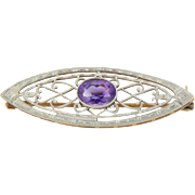 14kt Two-Tone White/Yellow Gold Amethyst Marquise Pin