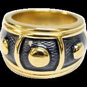 Elegant de Vroomen 18K Yellow Gold & Navy Blue Enamel Women's Designer Ring - Size 6.5
