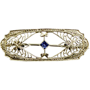 Antique 14K White Gold Krementz Diana Filigree Bar Pin with Blue Topaz
