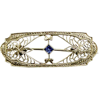 Antique 14K White Gold Krementz Diana Filigree Bar Pin with Blue Topaz