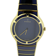 Eterna Galaxis 33mm Watch in 18K Yellow Gold with Blue Sapphire Inlay