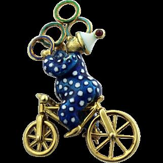 Martine 14kt Yellow Gold Enameled Clown Juggling on Bike Pin