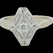 14kt White Gold Diamond Shape Ladies Ring with round Diamond - Size 4.5