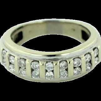Men's 14K White Gold Wedding Ring Band w/18 Round Diamonds (1.2ctw)-Size 10.5
