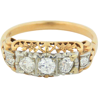 14kt Two-Tone White/Yellow Gold Vintage Diamond Band Ring - Size 8