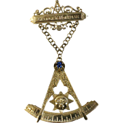 "10k Gold Masonic Mason Lapel Bar & Compass Drop 4"" Pin w/Sun - Blue Crystal & Diamonds - Engraved"