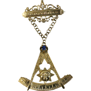 "10k Gold Masonic Mason Lapel Bar & Compass Drop 4"" Pin w/Sun - Blue Crystal & Diamonds - Engraved"