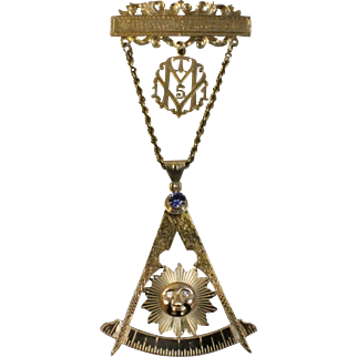 "14k Gold Masonic Mason Lapel Bar, Service & Compass Drop 5"" Pin w/Sun - Blue Crystal & Diamonds - Engraved"
