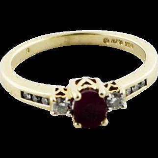 Sweet 14K Yellow Gold Past/Present/Future Three Stone Red Ruby & Diamond Ring in Size 7 - RJW Hallmark