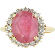 14kt Yellow Gold Thin Band Ring with Oval Ruby and 16 Round Diamonds -  Size 7.5