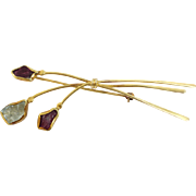 Modernist Organic 18K Yellow Gold Pin/Brooch with Natural Ruby & Aquamarine Gemstones