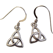 """Sweet/Traditional Sterling Silver Irish Claddagh Pierced 1/2"""" Dangle Earrings-Vintage Avon, RJ Graziano Designer - Red Tag Sale Item"""