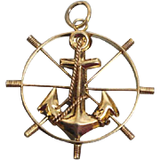 "14K Yellow Gold Captain Ship's Wheel & Anchor 1"" Nautical Charm"