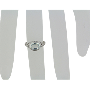 18kt White Gold Vintage Engagement Ring with Oval Aquamarine - Size 5