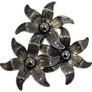 "Beau Sterling Silver 1 3/4"" Pin - Cluster of Three Highly Detailed Flowers"
