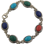 """Sterling Silver Oval Link Bracelet with Colored Stones  - 7 1/4"""""""