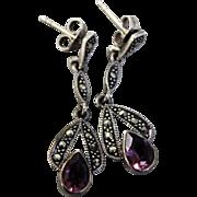 """Delicate Sterling Silver - Pear Shaped Purple Amethyst - Marcasite Dangle Pierced 1"""" Earrings - R, 925 Hallmark"""