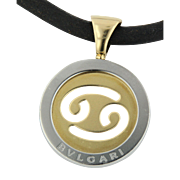 BVLGARI Bulgari Stainless/18kt Yellow Gold Cancer Horoscope Astrology Sign Rope Necklace