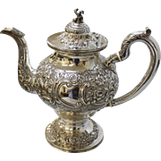 """Antique Sterling Silver S Kirk 12"""" Repousse Coffee or Teapot w/Asian Figural Knob - C Hallmark - 41.1 Troy Ozs"""