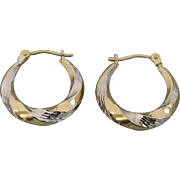 10kt Two Toned Yellow/White Gold Hoop Earrings with Diamond Cuts