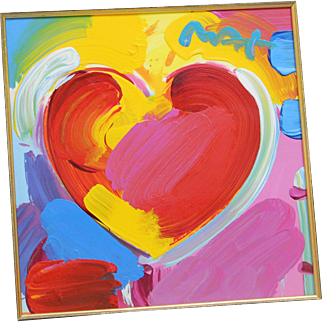 """Signed Original Framed & Matted Peter Max Red/Yellow/Blue/Pink """"Heart"""" Painting"""