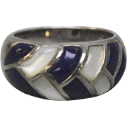 NICE S&G Sterling Silver 925 - Blue Lapis - Mother of Pearl Dome Ring - Size 7