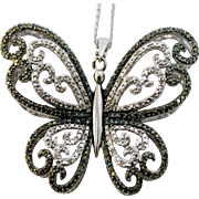 "Big & Bold Sterling Silver Butterfly Pendant Full of Clear/Green/Yellow CZs with 17"" Chain Necklace"