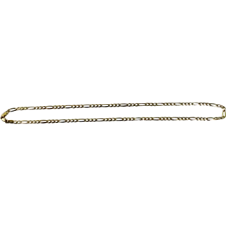 """14K Yellow Gold 18"""" Figraro Chain (3.3mm) Link Necklace - SDI, 585, Italy"""