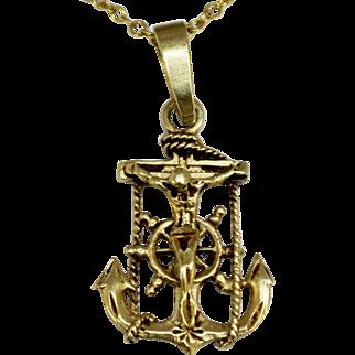 "Detailed 14K Yellow Gold Mariners Nautical Cross Crucifix with Anchor & Ship Wheel 1 1/4"" Pendant"