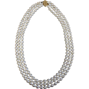 """18"""" Triple Strand Pearl Necklace with 14kt Yellow Gold Clasp"""