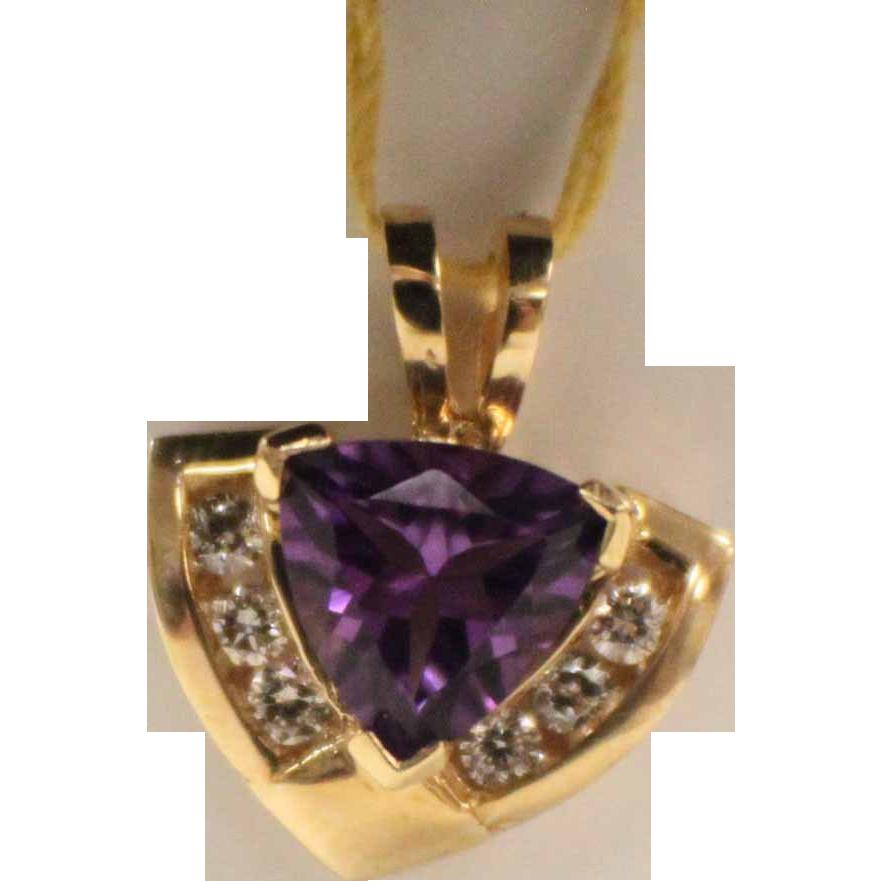 beautiful diamond and amethyst pendant yellow gold