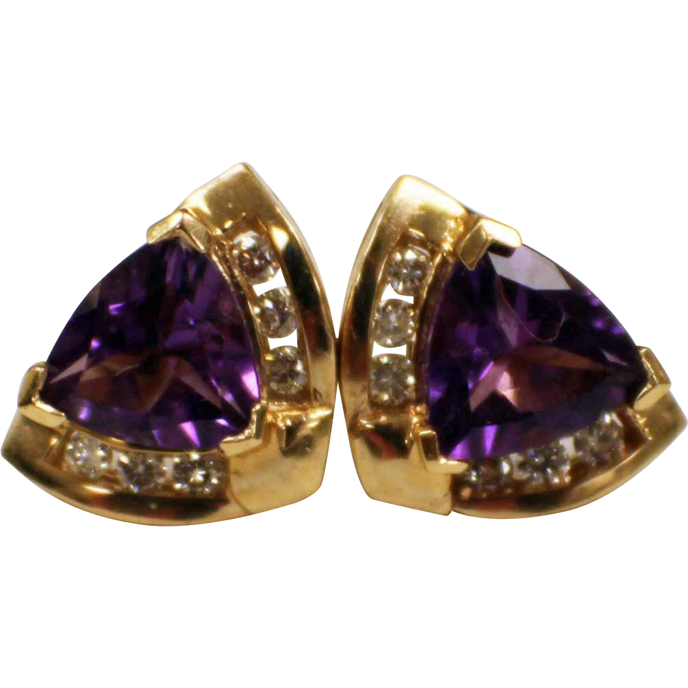 14k yellow gold amethyst diamond earrings for pierced. Black Bedroom Furniture Sets. Home Design Ideas