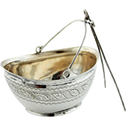 Antique Figural 800 Silver Bucket Basket Spout Tea Strainer w/Etched Leaf Details - Hallmark?