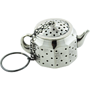 Circa 1940 - Sterling Silver Figural Teapot Tea Ball from Amcraft Attleboro, Massachusetts
