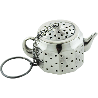 Circa 1940 - Sterling Silver Figural Teapot Tea Ball from Amcraft Attleboro, Massachusetts