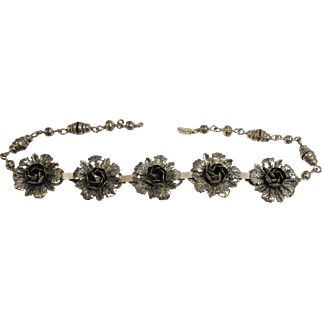 """Vintage 1940's Coro Sterling Silver Dimensional Flower 15 1/2"""" Choker Necklace"""