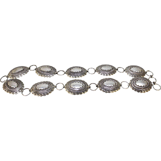 Big/Bold 1970's Willie Shaw Sterling Silver Native American Navajo Concho Adjustable Belt - 443 Grams