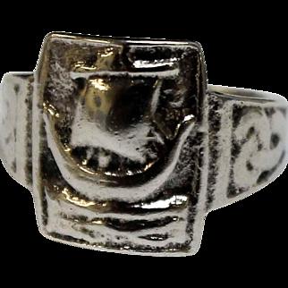 Vintage Sterling Silver Scottish Scotland Viking Ship Celtic Women's Ring - Size 5.5