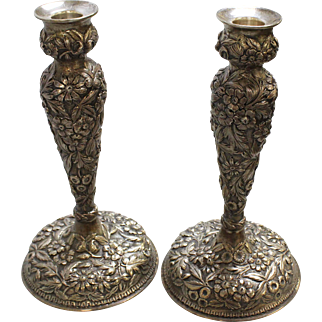 """Antique/Beautiful Jenkins & Jenkins, Baltimore MD Floral Repousse Ornate Sterling Silver 10"""" Candlesticks"""